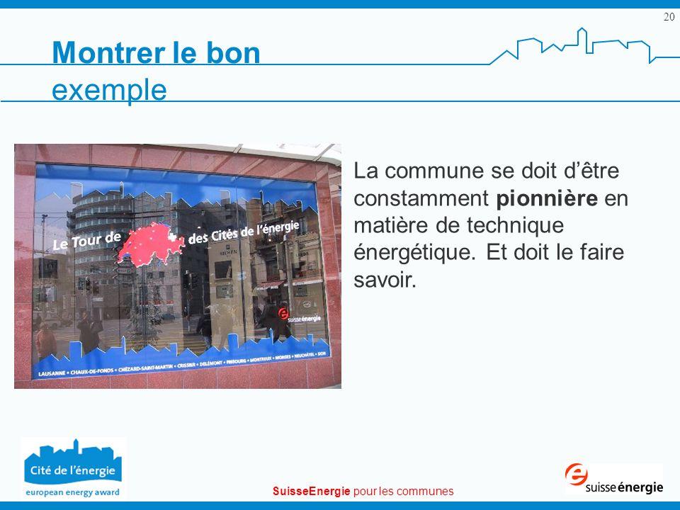 SuisseEnergie pour les communes 20 La commune se doit dêtre constamment pionnière en matière de technique énergétique. Et doit le faire savoir. Montre