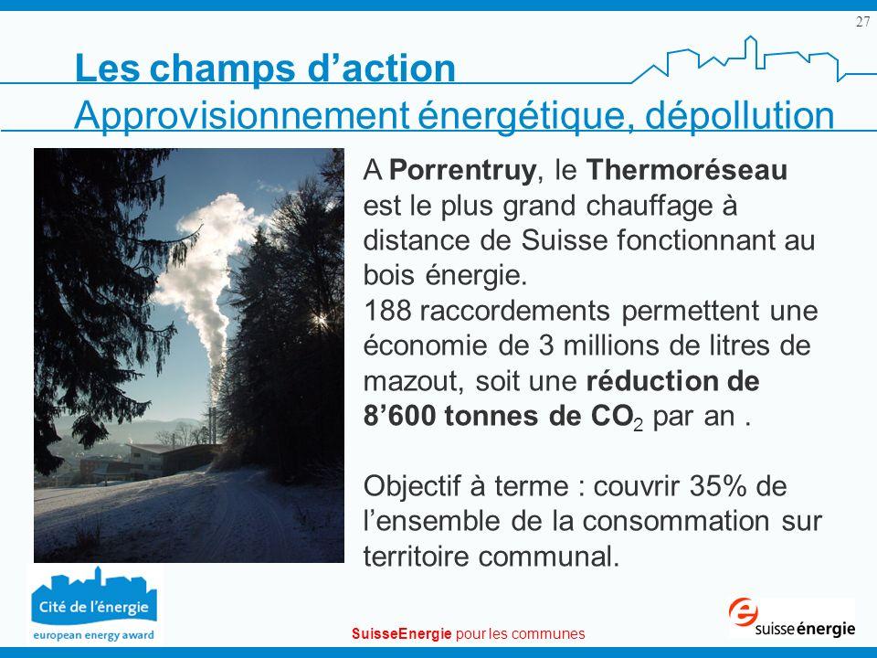 SuisseEnergie pour les communes 27 A Porrentruy, le Thermoréseau est le plus grand chauffage à distance de Suisse fonctionnant au bois énergie. 188 ra