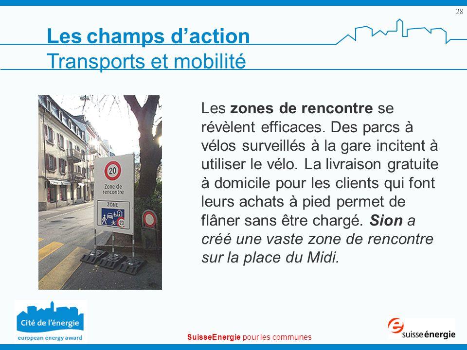 SuisseEnergie pour les communes 28 Les zones de rencontre se révèlent efficaces. Des parcs à vélos surveillés à la gare incitent à utiliser le vélo. L