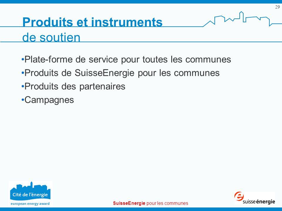 SuisseEnergie pour les communes 29 Produits et instruments de soutien Plate-forme de service pour toutes les communes Produits de SuisseEnergie pour l