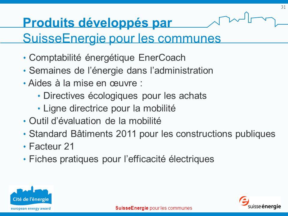 SuisseEnergie pour les communes 31 Produits développés par SuisseEnergie pour les communes Comptabilité énergétique EnerCoach Semaines de lénergie dan