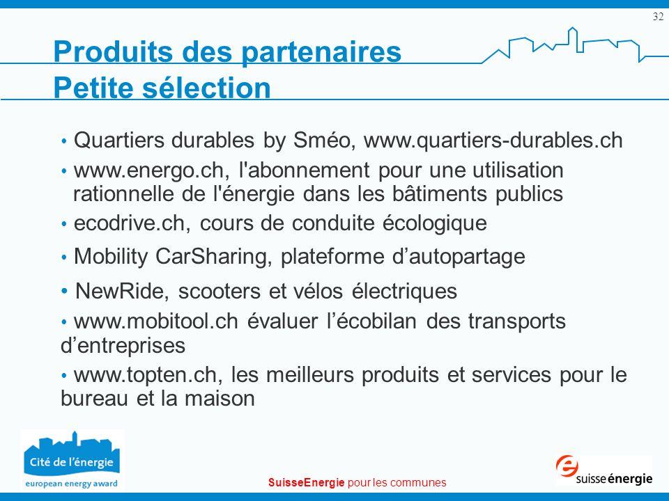 SuisseEnergie pour les communes 32 Produits des partenaires Petite sélection Quartiers durables by Sméo, www.quartiers-durables.ch www.energo.ch, l'ab