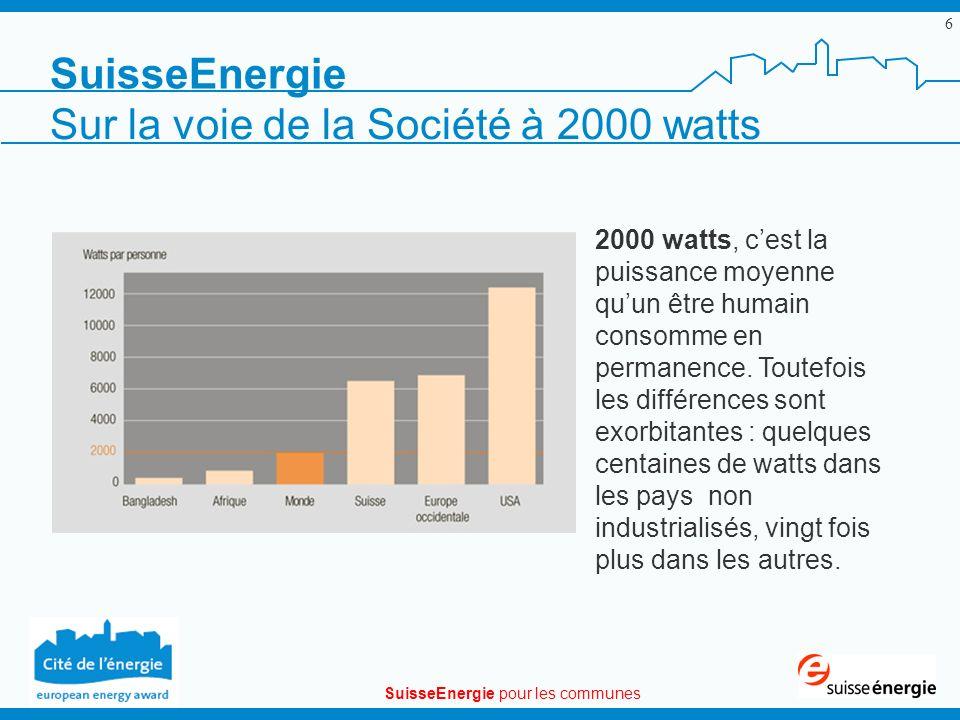 SuisseEnergie pour les communes 6 SuisseEnergie 2000 watts, cest la puissance moyenne quun être humain consomme en permanence. Toutefois les différenc