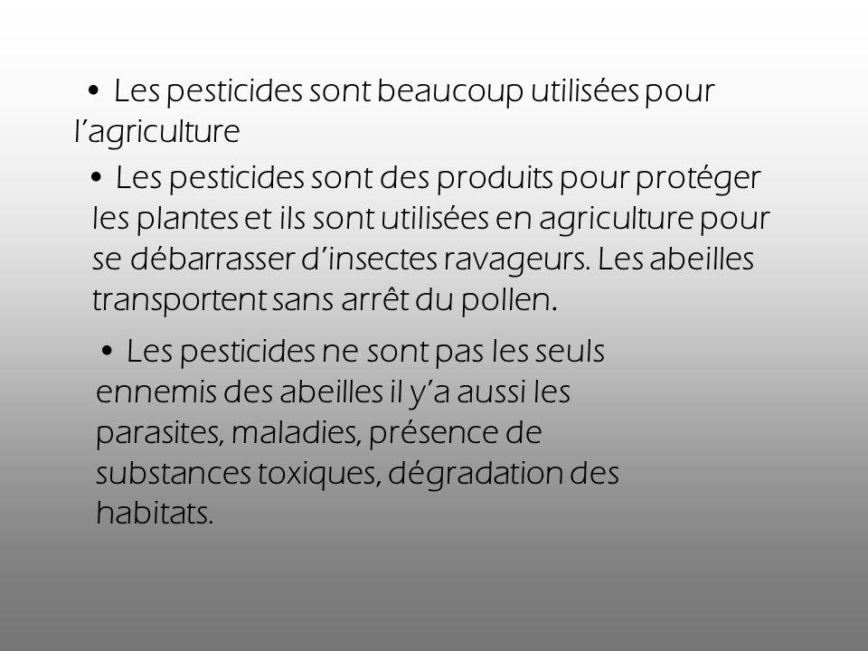 Les pesticides sont des produits pour protéger les plantes et ils sont utilisées en agriculture pour se débarrasser dinsectes ravageurs. Les abeilles