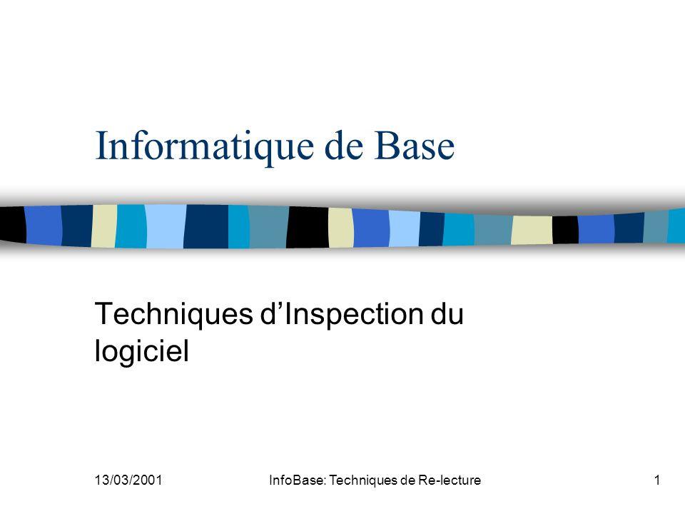 13/03/2001InfoBase: Techniques de Re-lecture1 Informatique de Base Techniques dInspection du logiciel