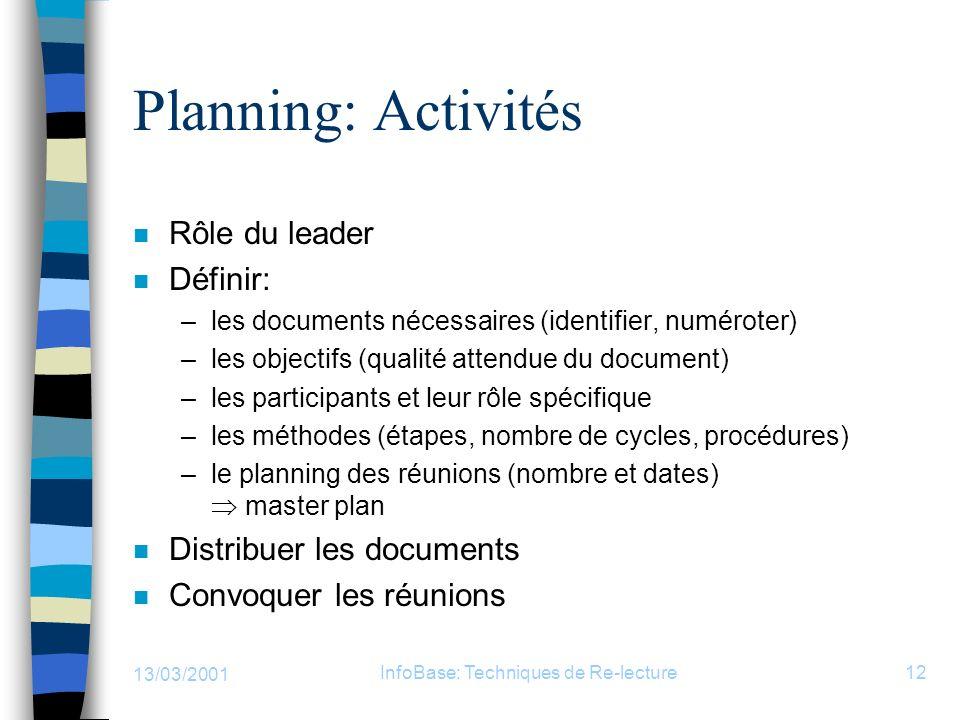 13/03/2001 InfoBase: Techniques de Re-lecture12 Planning: Activités n Rôle du leader n Définir: –les documents nécessaires (identifier, numéroter) –le