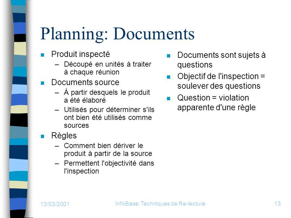 13/03/2001 InfoBase: Techniques de Re-lecture13 Planning: Documents n Produit inspecté –Découpé en unités à traiter à chaque réunion n Documents sourc
