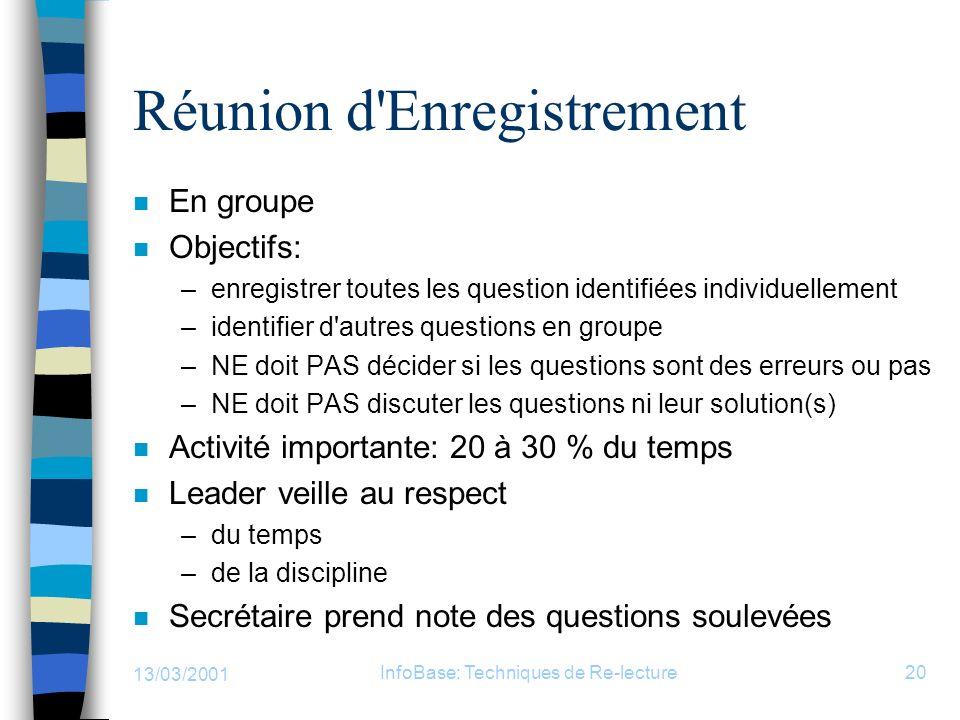 13/03/2001 InfoBase: Techniques de Re-lecture20 Réunion d'Enregistrement n En groupe n Objectifs: –enregistrer toutes les question identifiées individ