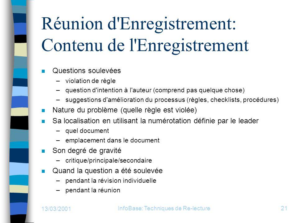 13/03/2001 InfoBase: Techniques de Re-lecture21 Réunion d'Enregistrement: Contenu de l'Enregistrement n Questions soulevées –violation de règle –quest