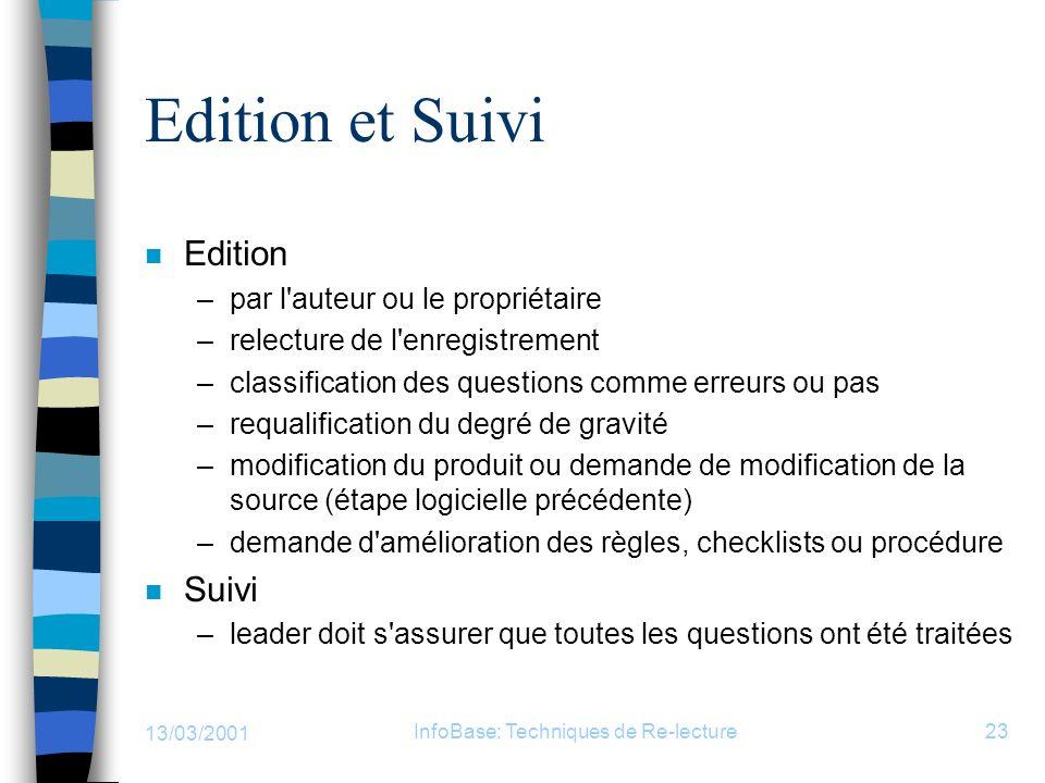 13/03/2001 InfoBase: Techniques de Re-lecture23 Edition et Suivi n Edition –par l'auteur ou le propriétaire –relecture de l'enregistrement –classifica