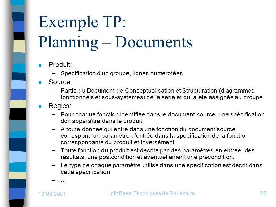 13/03/2001 InfoBase: Techniques de Re-lecture28 Exemple TP: Planning – Documents n Produit: –Spécification d'un groupe, lignes numérotées n Source: –P
