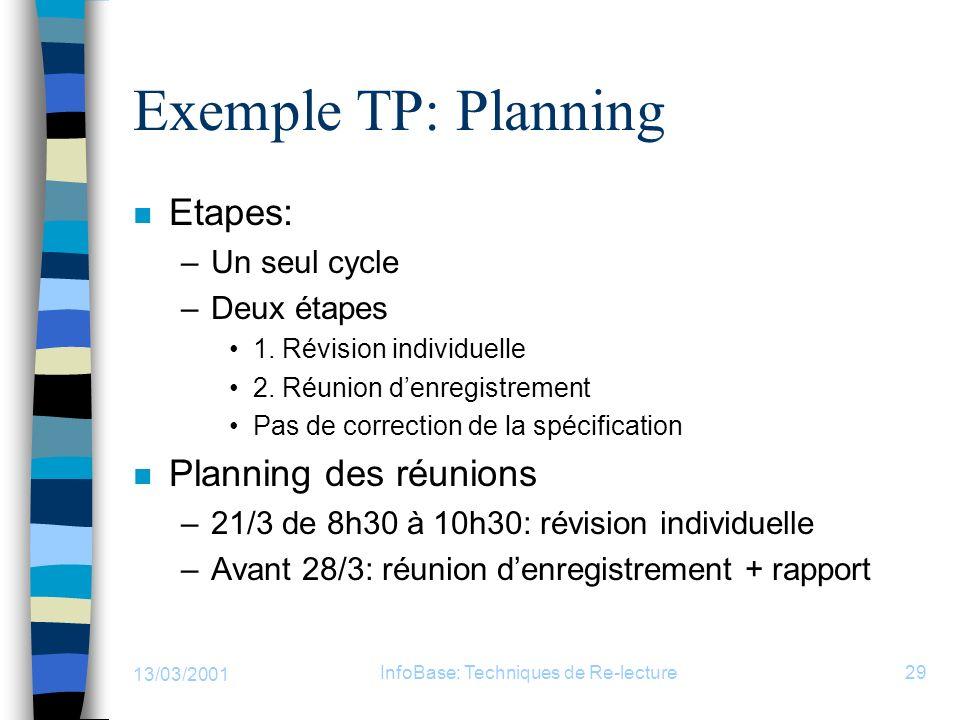 13/03/2001 InfoBase: Techniques de Re-lecture29 Exemple TP: Planning n Etapes: –Un seul cycle –Deux étapes 1. Révision individuelle 2. Réunion denregi