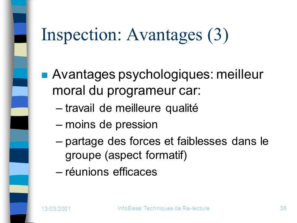 13/03/2001 InfoBase: Techniques de Re-lecture36 Inspection: Avantages (3) n Avantages psychologiques: meilleur moral du programeur car: –travail de me