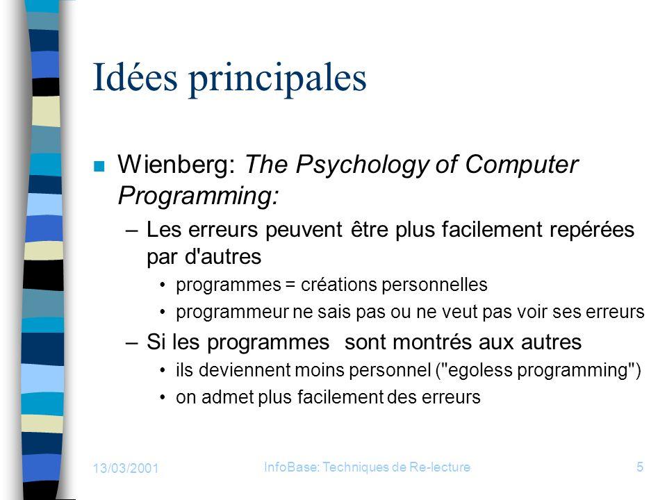 13/03/2001 InfoBase: Techniques de Re-lecture5 Idées principales n Wienberg: The Psychology of Computer Programming: –Les erreurs peuvent être plus fa