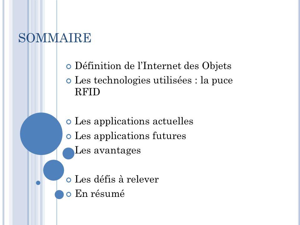 SOMMAIRE Définition de lInternet des Objets Les technologies utilisées : la puce RFID Les applications actuelles Les applications futures Les avantage