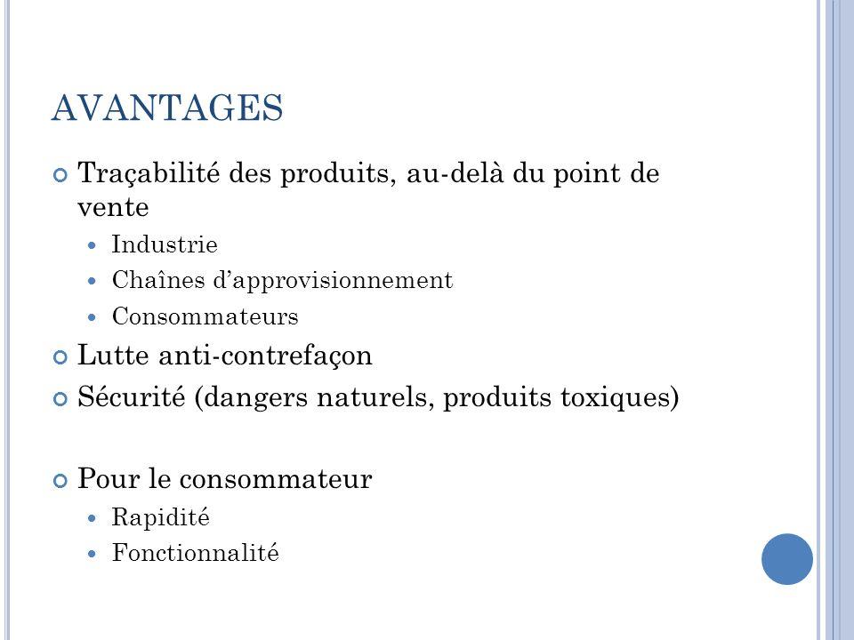 AVANTAGES Traçabilité des produits, au-delà du point de vente Industrie Chaînes dapprovisionnement Consommateurs Lutte anti-contrefaçon Sécurité (dang