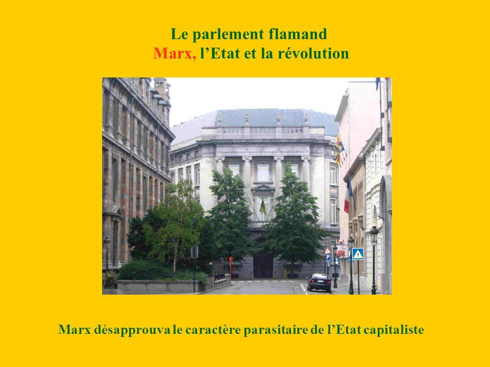 Le parlement flamand Marx, lEtat et la révolution Marx désapprouva le caractère parasitaire de lEtat capitaliste