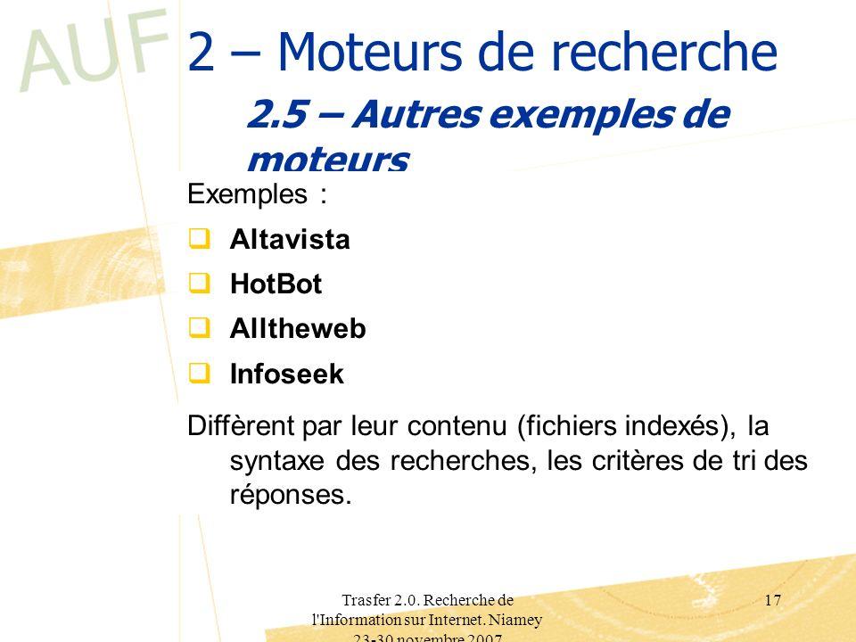 Trasfer 2.0. Recherche de l'Information sur Internet. Niamey 23-30 novembre 2007 17 2 – Moteurs de recherche 2.5 – Autres exemples de moteurs Exemples