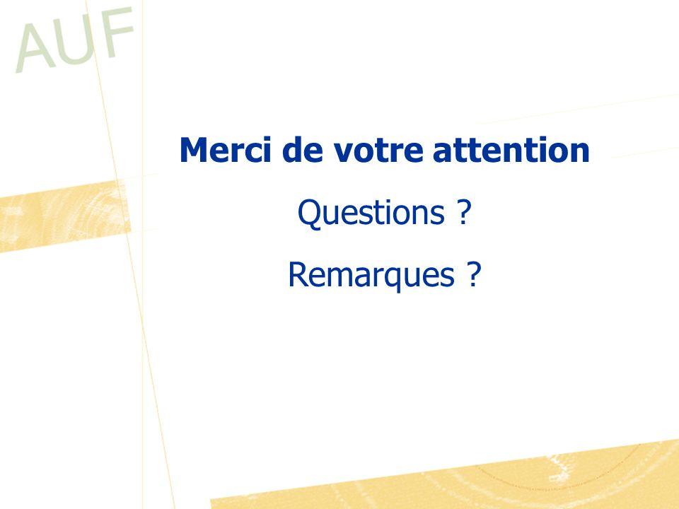 Merci de votre attention Questions ? Remarques ?