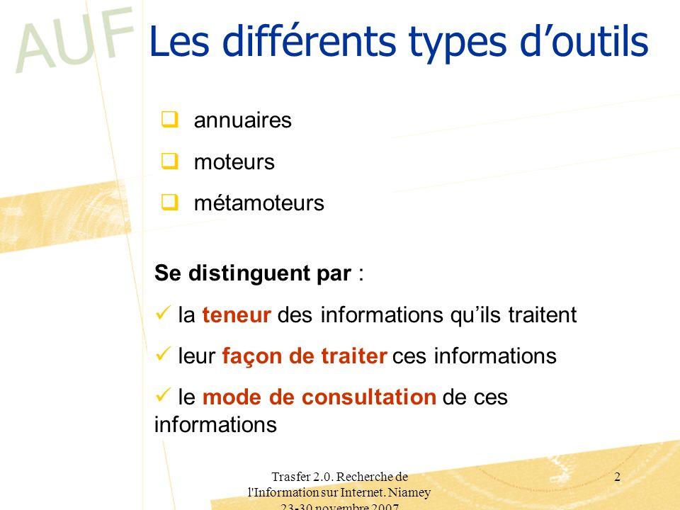 Trasfer 2.0. Recherche de l'Information sur Internet. Niamey 23-30 novembre 2007 2 Les différents types doutils annuaires moteurs métamoteurs Se disti