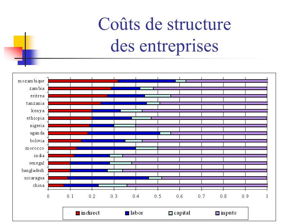 Coûts de structure des entreprises