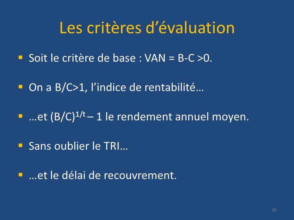 Les critères dévaluation Soit le critère de base : VAN = B-C >0. On a B/C>1, lindice de rentabilité… …et (B/C) 1/t – 1 le rendement annuel moyen. Sans