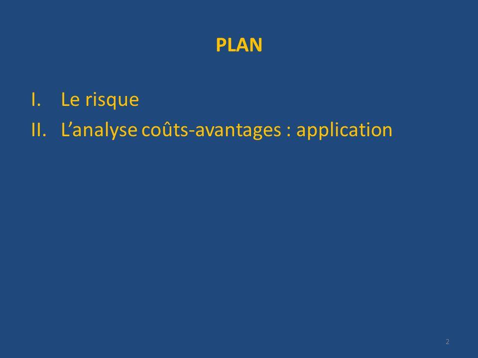 PLAN I.Le risque II.Lanalyse coûts-avantages : application 2