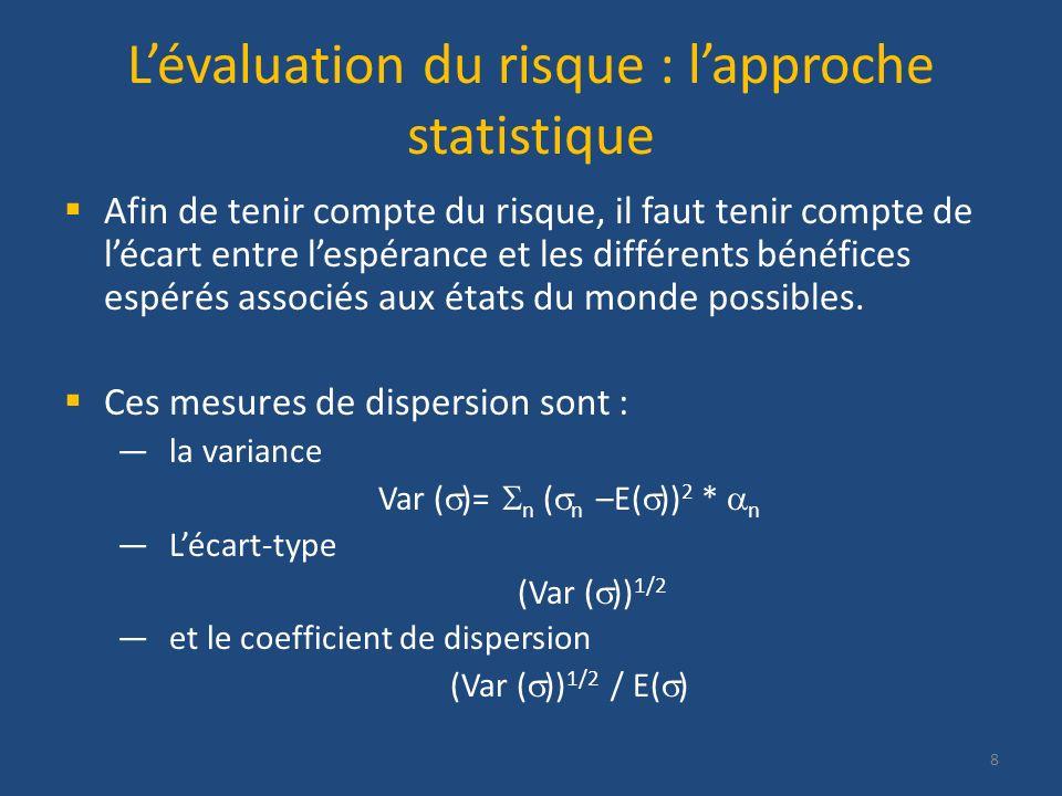 Lévaluation du risque : lapproche statistique Afin de tenir compte du risque, il faut tenir compte de lécart entre lespérance et les différents bénéfi