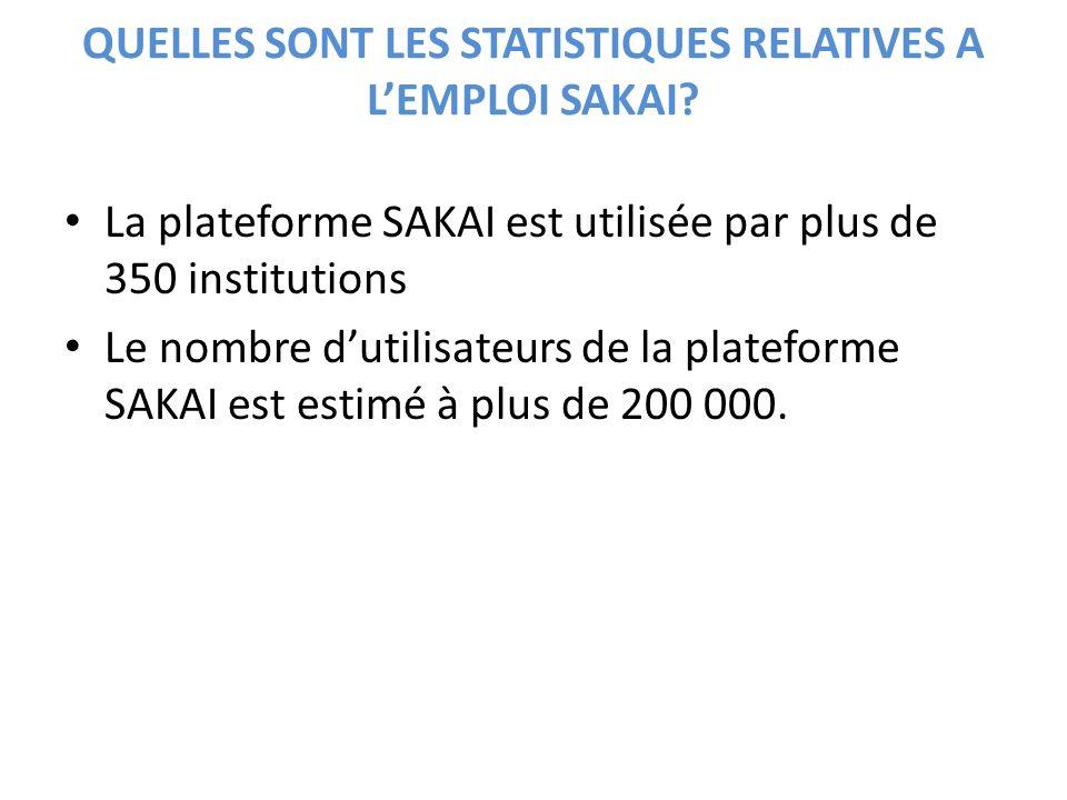 QUELLES SONT LES STATISTIQUES RELATIVES A LEMPLOI SAKAI? La plateforme SAKAI est utilisée par plus de 350 institutions Le nombre dutilisateurs de la p