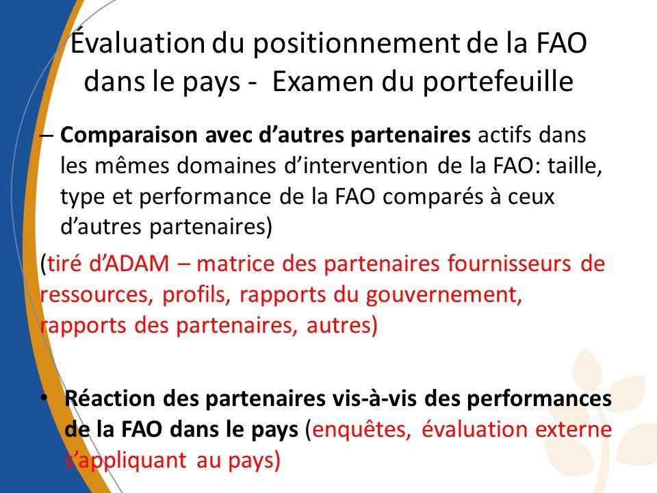 Évaluation du positionnement de la FAO dans le pays - Examen du portefeuille – Comparaison avec dautres partenaires actifs dans les mêmes domaines dintervention de la FAO: taille, type et performance de la FAO comparés à ceux dautres partenaires) (tiré dADAM – matrice des partenaires fournisseurs de ressources, profils, rapports du gouvernement, rapports des partenaires, autres) Réaction des partenaires vis-à-vis des performances de la FAO dans le pays (enquêtes, évaluation externe sappliquant au pays)