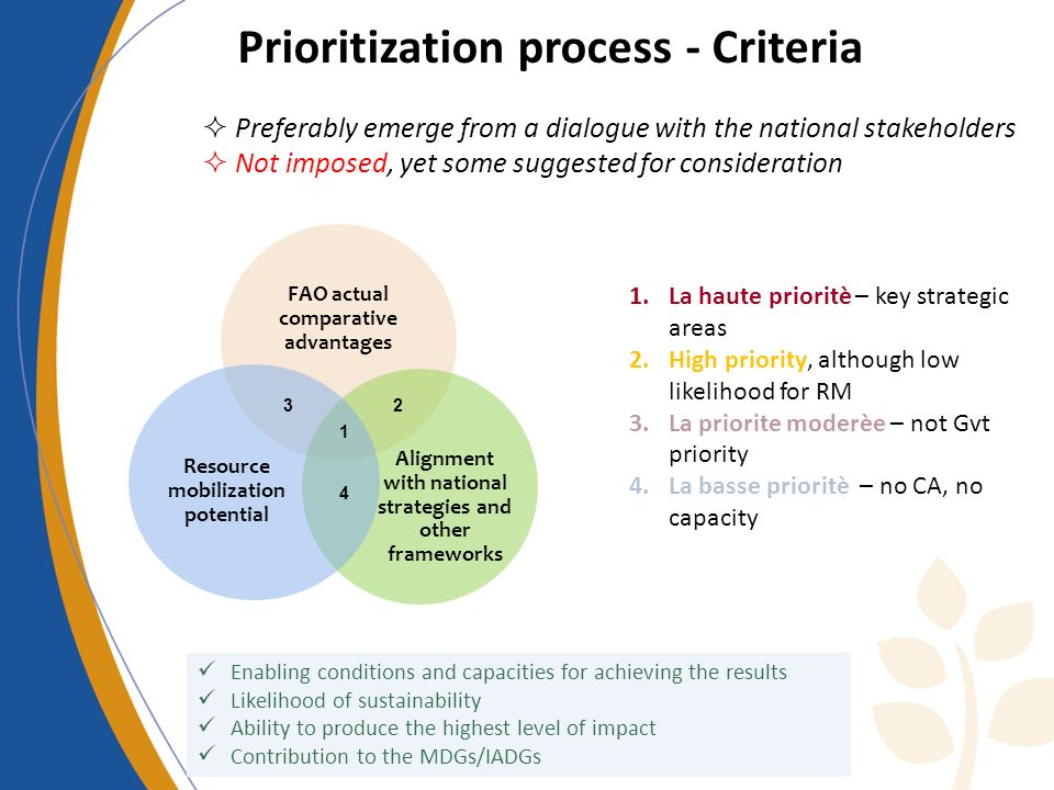 Preferably emerge from a dialogue with the national stakeholders Not imposed, yet some suggested for consideration 1 23 4 1.La haute prioritè – key strategic areas 2.High priority, although low likelihood for RM 3.La priorite moderèe – not Gvt priority 4.La basse prioritè – no CA, no capacity Enabling conditions and capacities for achieving the results Likelihood of sustainability Ability to produce the highest level of impact Contribution to the MDGs/IADGs Prioritization process - Criteria