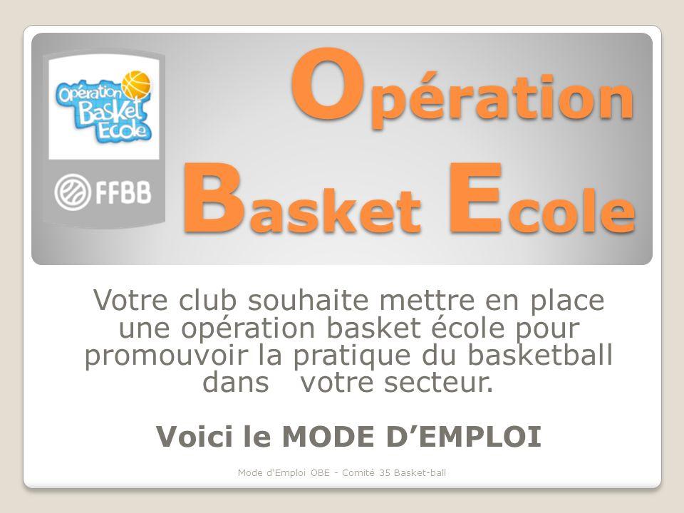 O pération B asket E cole Votre club souhaite mettre en place une opération basket école pour promouvoir la pratique du basketball dans votre secteur.