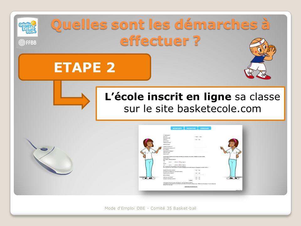 Quelles sont les démarches à effectuer ? ETAPE 2 Mode d'Emploi OBE - Comité 35 Basket-ball Lécole inscrit en ligne sa classe sur le site basketecole.c