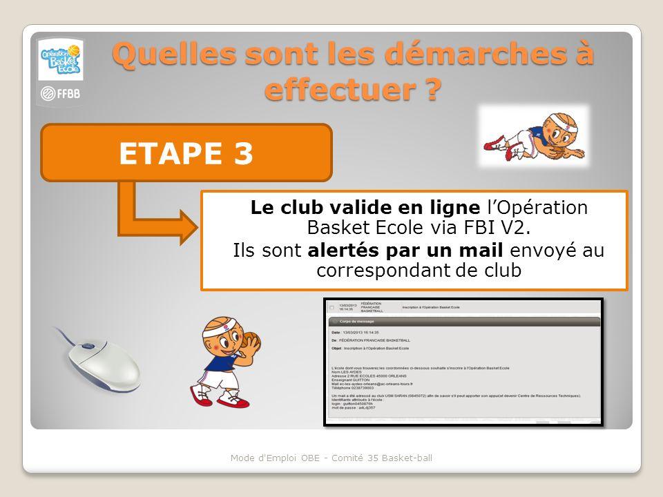 Quelles sont les démarches à effectuer ? ETAPE 3 Mode d'Emploi OBE - Comité 35 Basket-ball Le club valide en ligne lOpération Basket Ecole via FBI V2.
