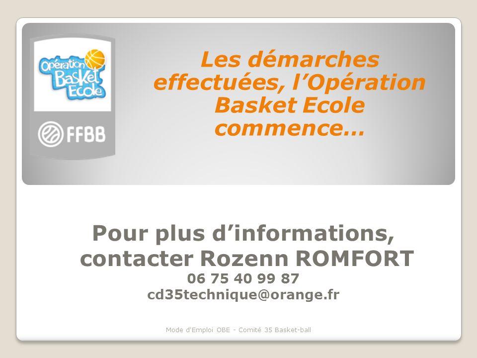 Pour plus dinformations, contacter Rozenn ROMFORT 06 75 40 99 87 cd35technique@orange.fr Les démarches effectuées, lOpération Basket Ecole commence… M