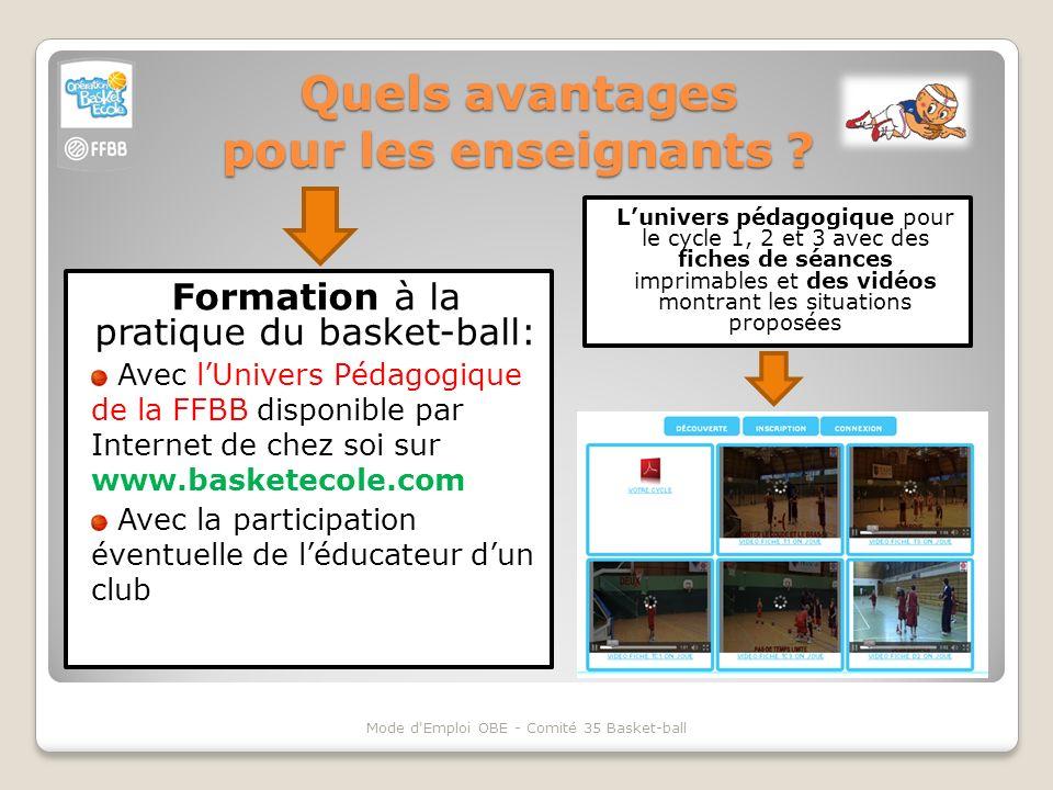 Quels avantages pour les enseignants ? Mode d'Emploi OBE - Comité 35 Basket-ball Formation à la pratique du basket-ball: Avec lUnivers Pédagogique de