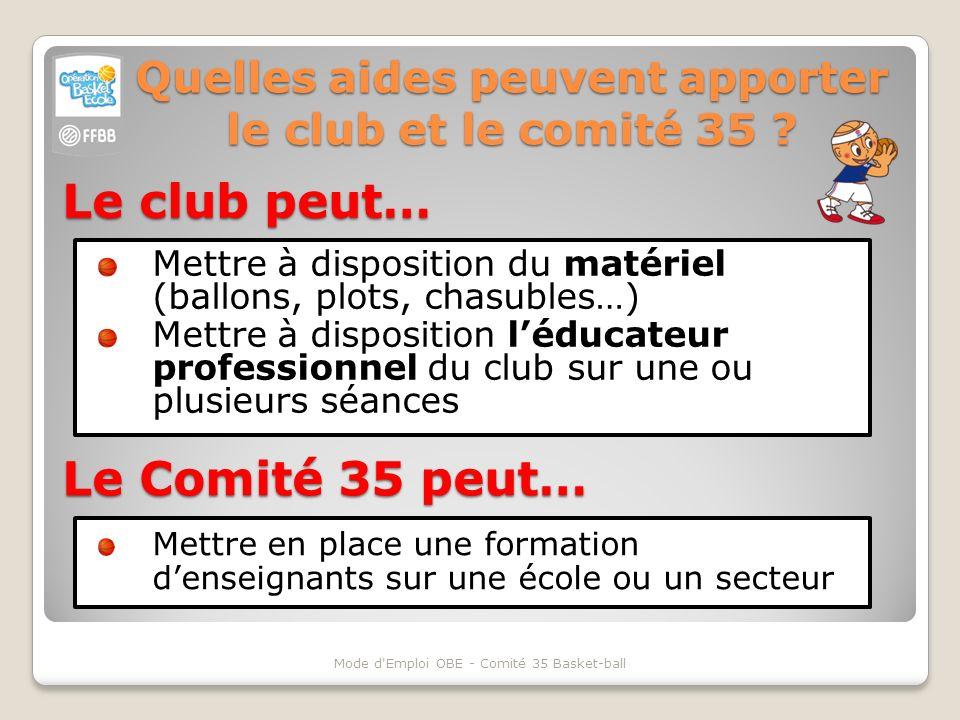 Quelles aides peuvent apporter le club et le comité 35 ? Mettre à disposition du matériel (ballons, plots, chasubles…) Mettre à disposition léducateur