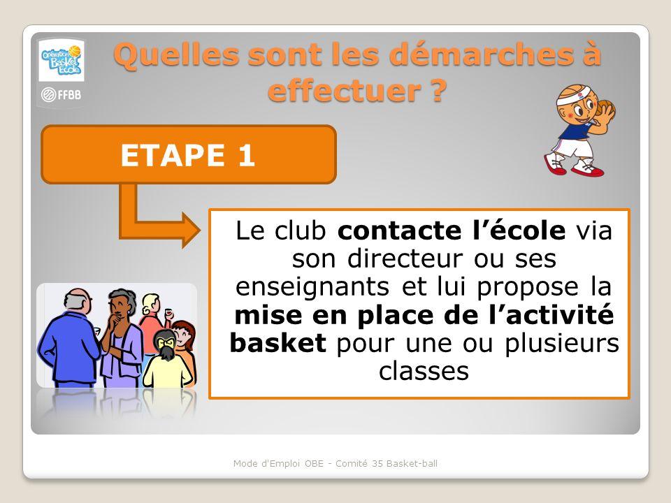 Quelles sont les démarches à effectuer ? ETAPE 1 Le club contacte lécole via son directeur ou ses enseignants et lui propose la mise en place de lacti