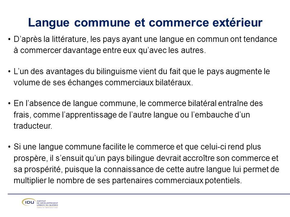 Daprès la littérature, les pays ayant une langue en commun ont tendance à commercer davantage entre eux quavec les autres.