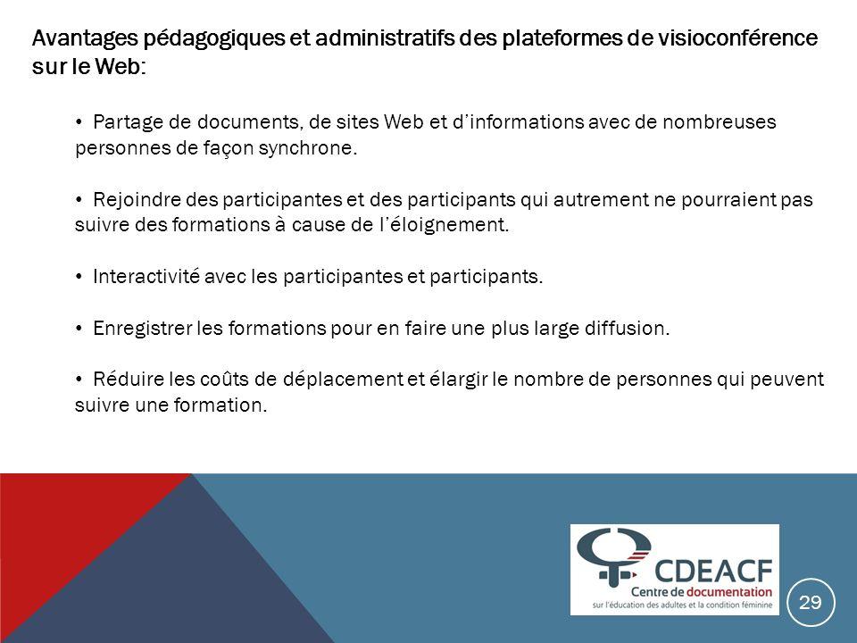 Avantages pédagogiques et administratifs des plateformes de visioconférence sur le Web: Partage de documents, de sites Web et dinformations avec de no