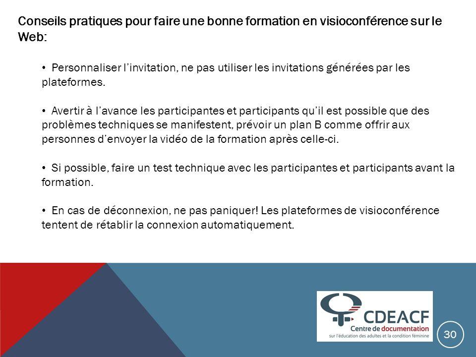 Conseils pratiques pour faire une bonne formation en visioconférence sur le Web: Personnaliser linvitation, ne pas utiliser les invitations générées p