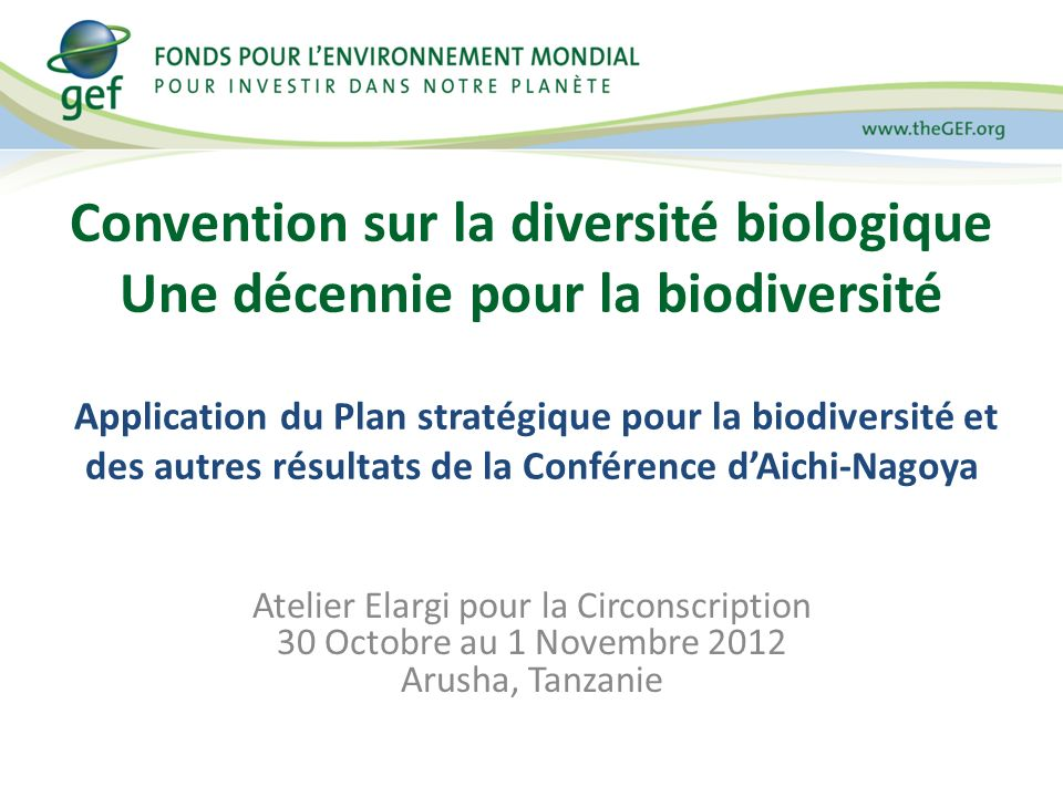 Life in harmony, into the future Résultats de la Conférence dAichi-Nagoya (10 e Conférence des parties / 5 e Réunion des parties) 47 décisions de la 10 e Conférence, qui comprennent : La décennie ONU pour la biodiversité 2011-2020 a été déclarée la Décennie Nations Unies pour la Biodiversité, qui envisage de contribuer a lexécution du Plan Stratégique pour la Biodiversité Protocole Nagoya sur APA X/25.