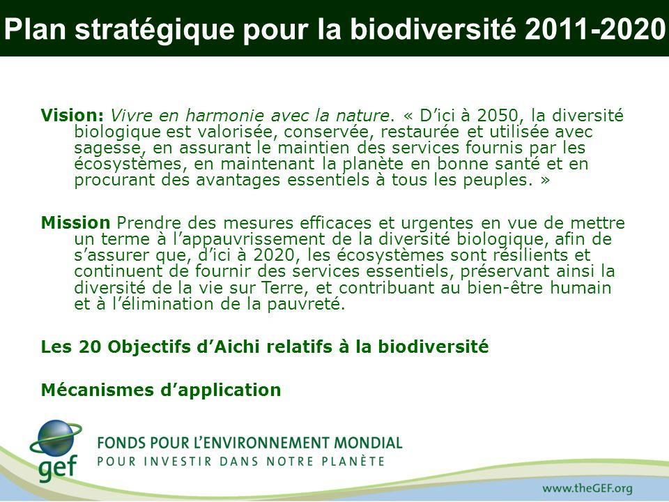 Plan stratégique pour la biodiversité 2011-2020 Vision: Vivre en harmonie avec la nature. « Dici à 2050, la diversité biologique est valorisée, conser
