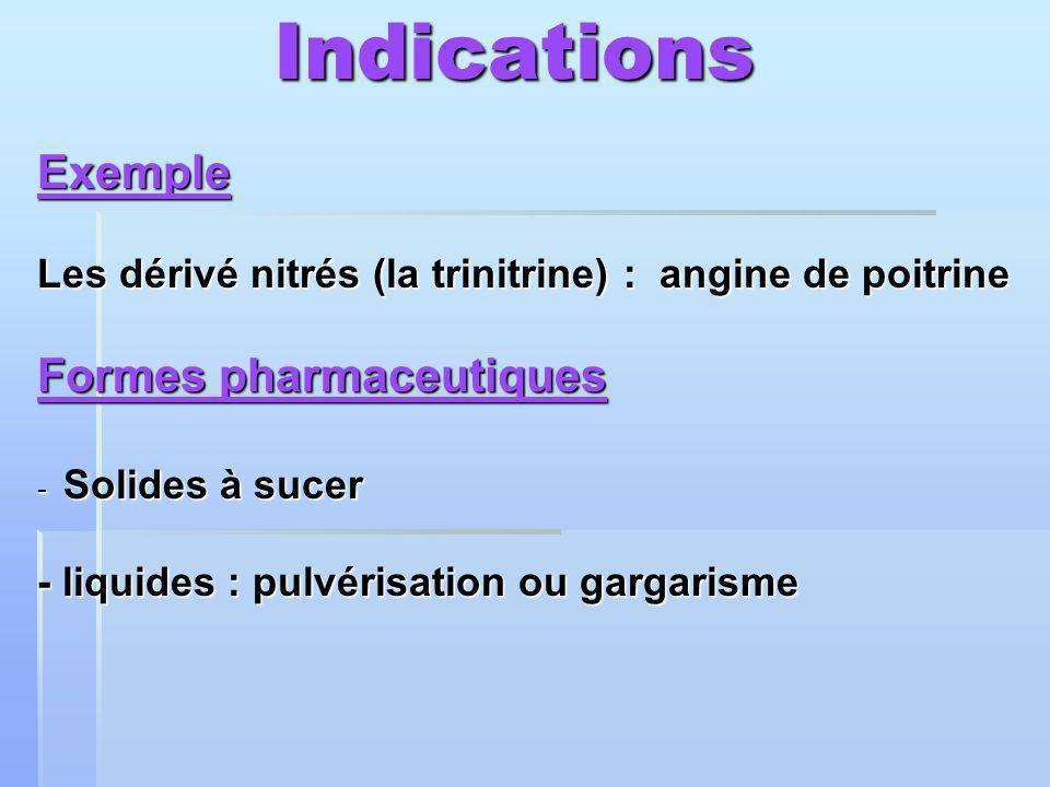 Indications Indications Exemple Les dérivé nitrés (la trinitrine) : angine de poitrine Formes pharmaceutiques - Solides à sucer - liquides : pulvérisation ou gargarisme