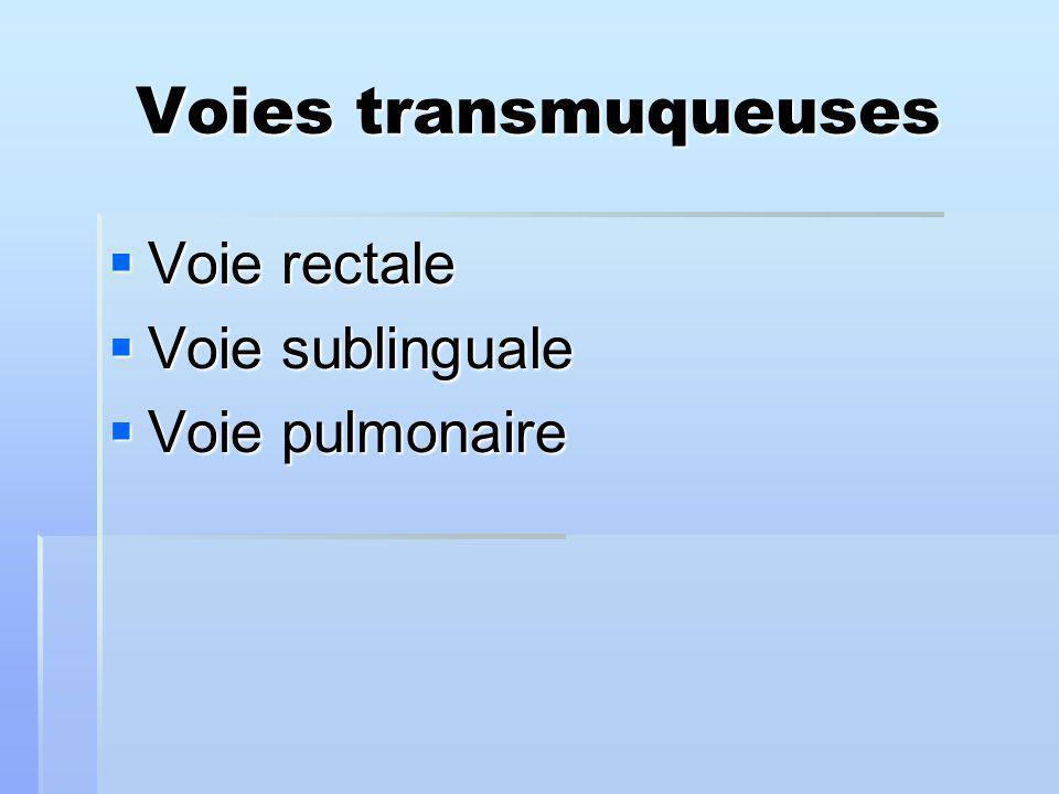 Voies transmuqueuses Voie rectale Voie rectale Voie sublinguale Voie sublinguale Voie pulmonaire Voie pulmonaire