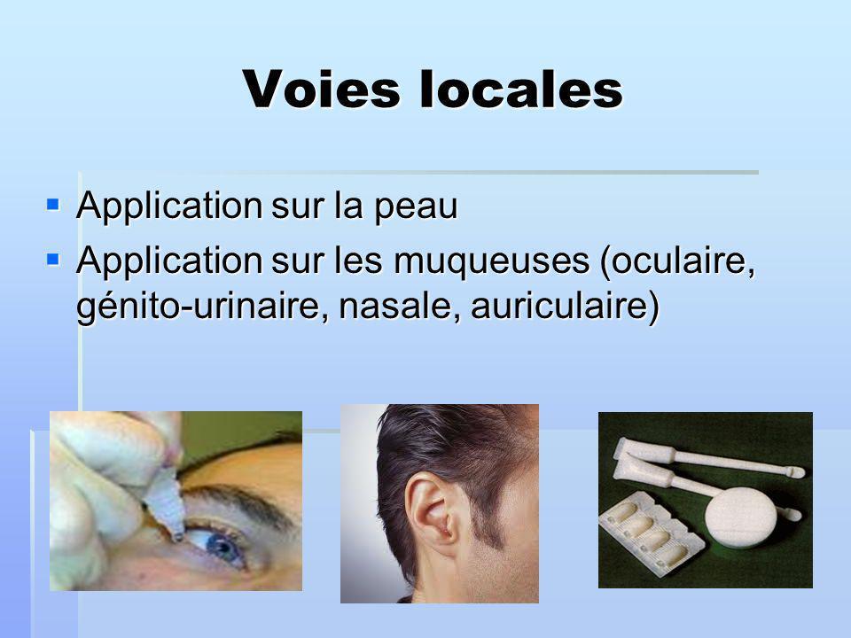 Voies locales Application sur la peau Application sur la peau Application sur les muqueuses (oculaire, génito-urinaire, nasale, auriculaire) Application sur les muqueuses (oculaire, génito-urinaire, nasale, auriculaire)