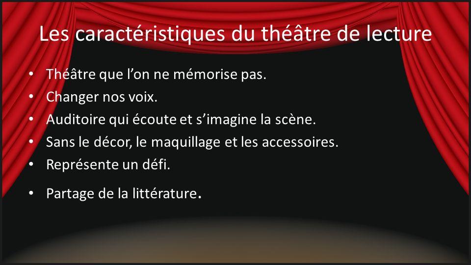 Avantages et bienfaits Les élèves qui participent au théâtre de lecture deviennent naturellement de meilleurs lecteurs : – actifs dans leurs apprentissages; – développent le goût pour la lecture; – relecture.