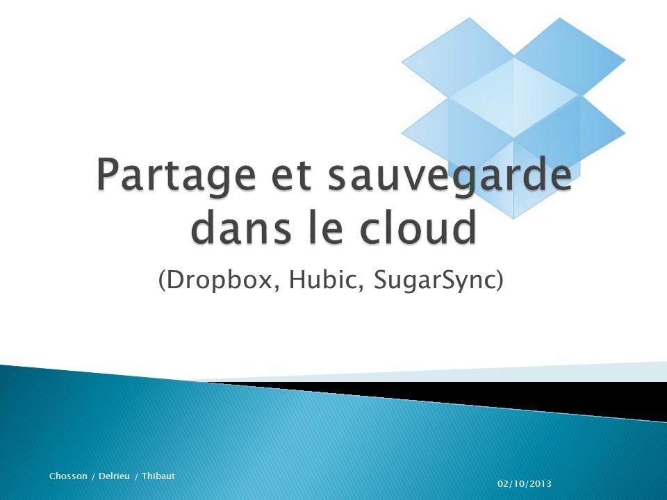 (Dropbox, Hubic, SugarSync) Chosson / Delrieu / Thibaut 02/10/2013