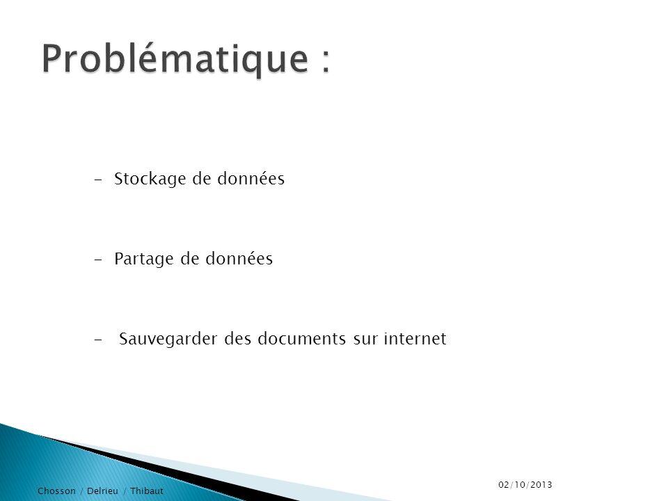 Chosson / Delrieu / Thibaut -Stockage de données -Partage de données - Sauvegarder des documents sur internet 02/10/2013