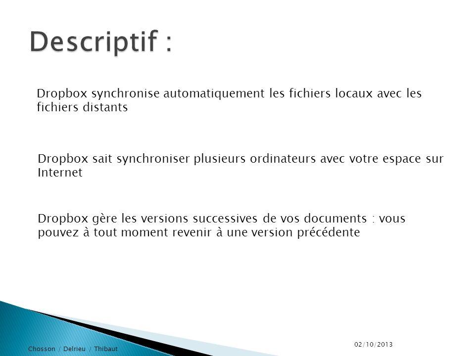 Chosson / Delrieu / Thibaut Dropbox synchronise automatiquement les fichiers locaux avec les fichiers distants Dropbox sait synchroniser plusieurs ordinateurs avec votre espace sur Internet Dropbox gère les versions successives de vos documents : vous pouvez à tout moment revenir à une version précédente 02/10/2013